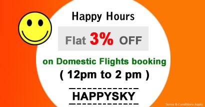 Happy Hours - Flat 3% OFF on Domestic Flights booking ( 12pm to 2pm)