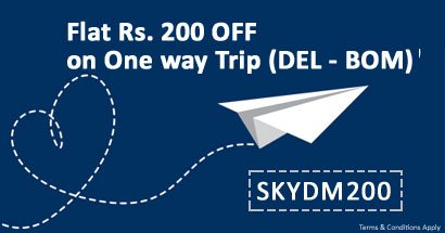 Flat Rs. 200 OFF on One way Trip (DEL - BOM) Domestic Flight Booking