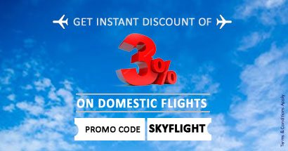 Special Offer - Flat 3% OFF (upto Rs. 800) on Domestic Flight Bookings