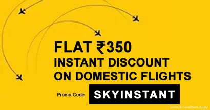 Flat Rs. 350 Instant Discount on Domestic Flights
